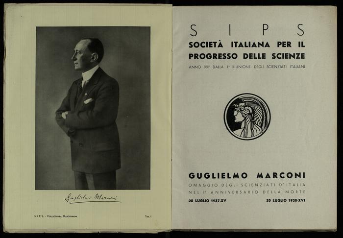 Il frontespizio del volume ed una carta con un ritratto di Guglielmo Marconi
