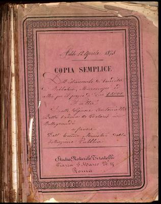 """""""Copia semplice dell'istromento di vendita di Biblioteca, Microscopi ed altro per il prezzo di lire 18.000"""""""