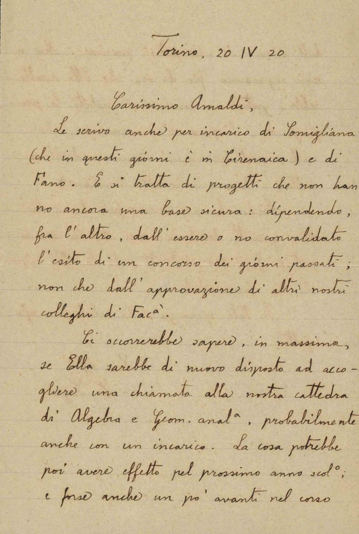 Corrado Segre a Ugo Amaldi, 20/04/1920, Torino, pagina 1