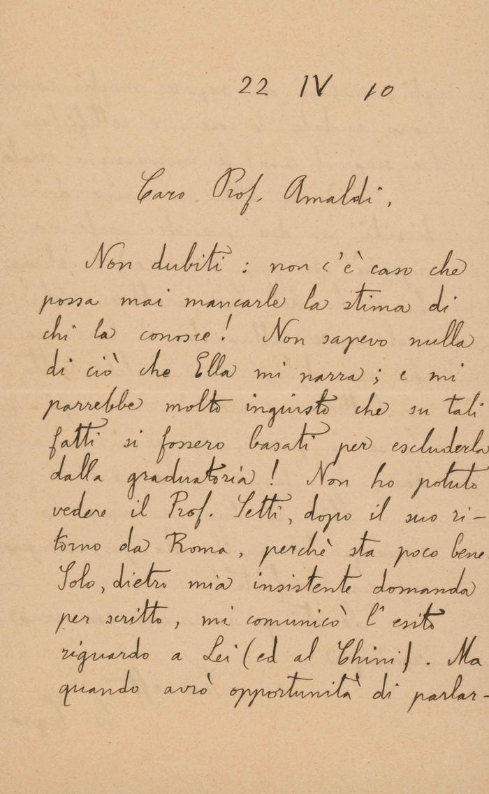 Corrado Segre a Ugo Amaldi, 22/04/1910, Torino, pagina 1