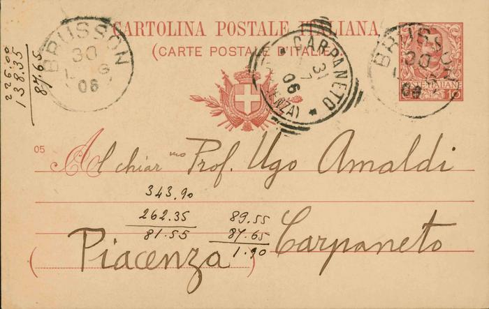 Corrado Segre a Ugo Amaldi, 29/07/1906, Brusson, pagina 1