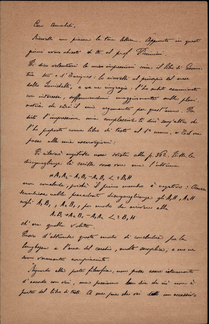 Beppo Levi a Ugo Amaldi, 19/10/1902, Piacenza, pagina 1