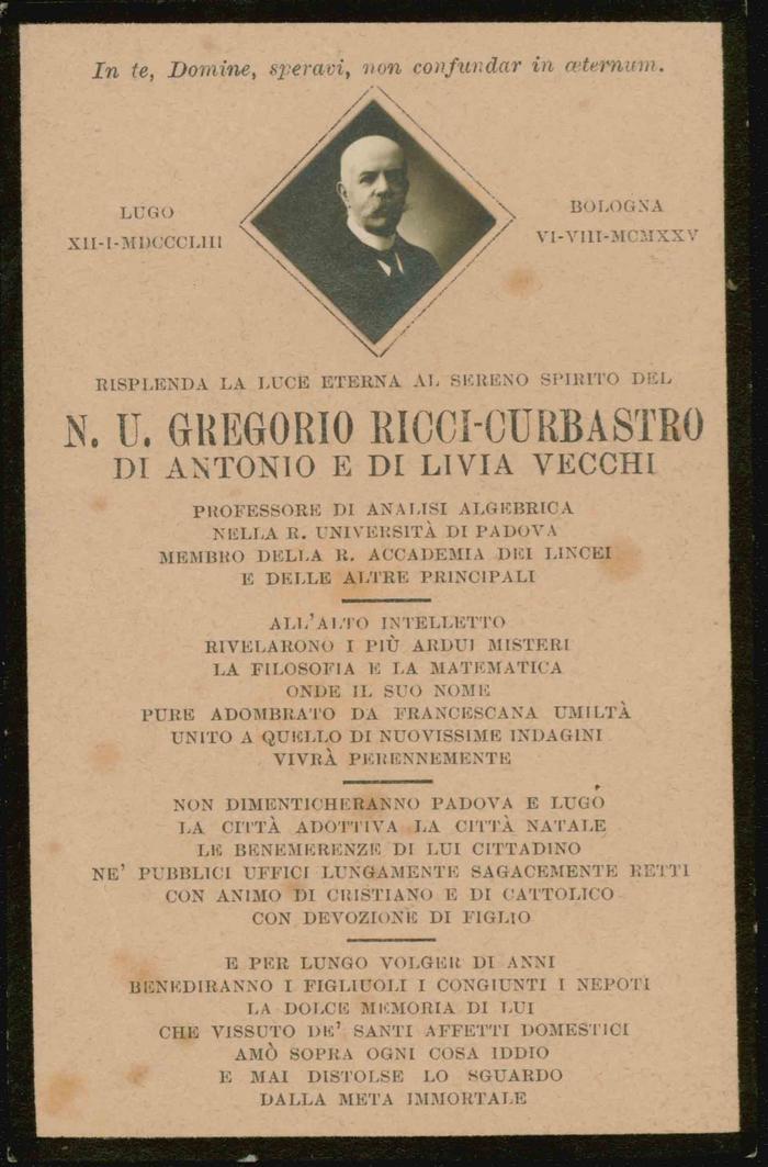Biglietto listato a lutto, pagina 1